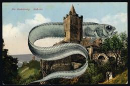 EELCHURCH 2019 Collage on vintage postcard 9x14cm KEELERTORNERO