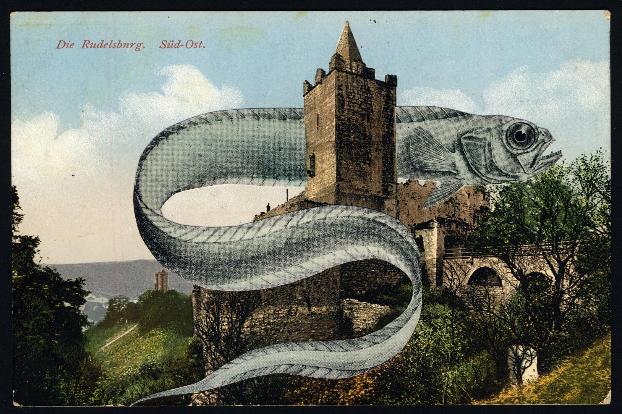 EELCHURCH 2019 Collage and Retouching fluid on vintage postcard 9x14cm KEELERTORNERO