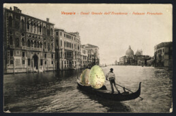 EGGGONDOLA 2019 Collage on vintage postcard 9x14cm