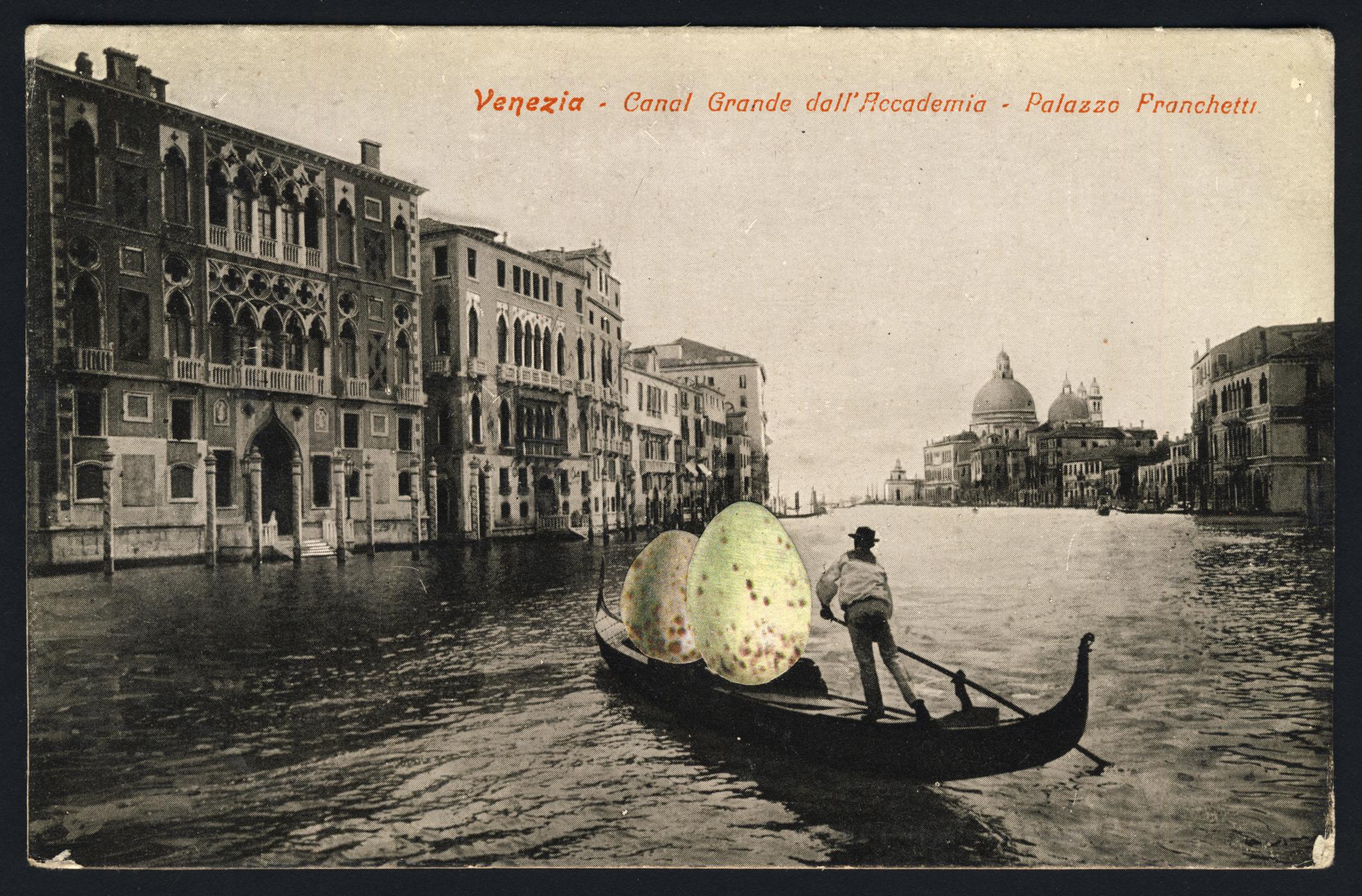 EGGGONDOLA 2019 Collage and Retouching fluid on vintage postcard 9x14cm KEELERTORNERO