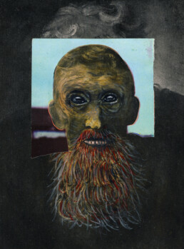 REMBRANDT'S DAD 2012 Acrylic and collage on found image 13x17cm KEELERTORNERO