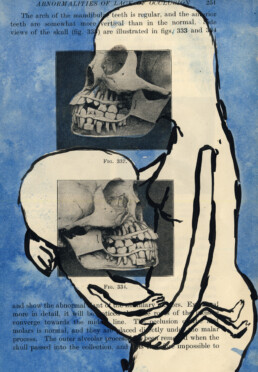 MOTHER AND CHILD 2012 Acrylic and Ink on found image 14x21cm KEELERTORNERO