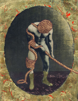 Wrestler 2013 Acrylic and gold leaf on found image 210x290mm KEELERTORNERO