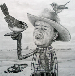 JOHN WAYNE BIRD CAGE 2015 Pencil on paper 50x50cm KEELERTORNERO