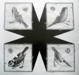 INSIDE THE BIRD 2014 pencil on paper 70x70cm KEELERTORNERO