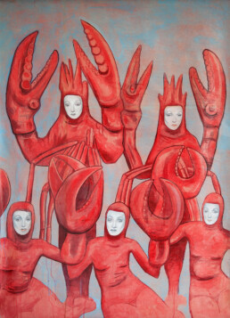 MARLENE OF THE LOBSTERS 2015 Acrylic and collage on paper laid on canvas 100x140cm KEELERTORNERO