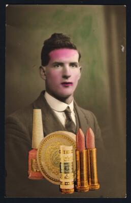 LIPSTICKMAN 2019 Collage on vintage postcard 9x14cm KEELERTORNERO