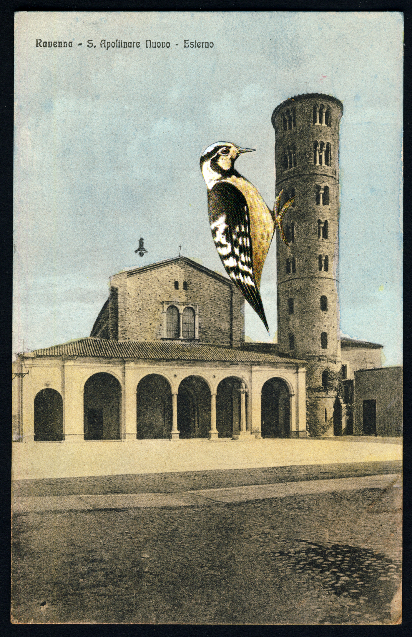 WOODPECKERTOWER 2 2019 Collage and Retouching fluid on vintage postcard 9x14cm KEELERTORNERO