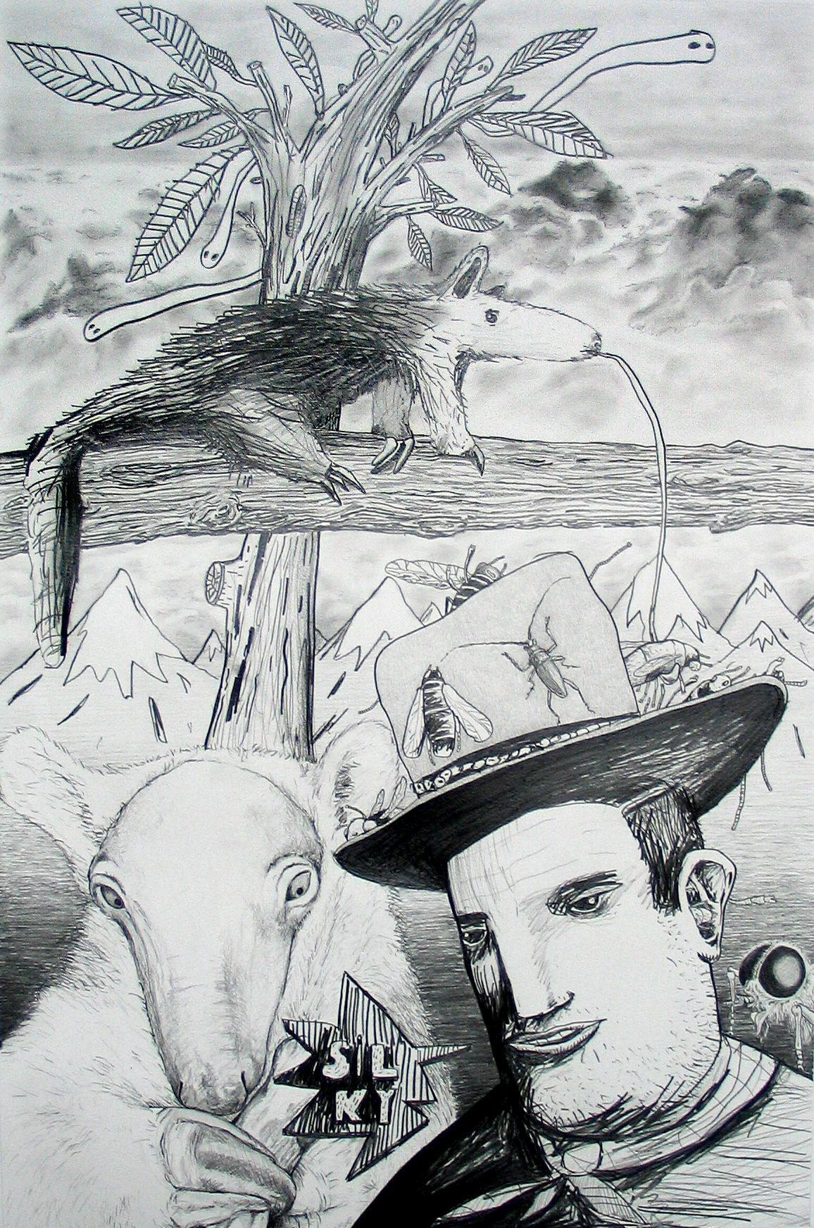 John Wayne and Silky 2007 Pencil on paper 50x70cm