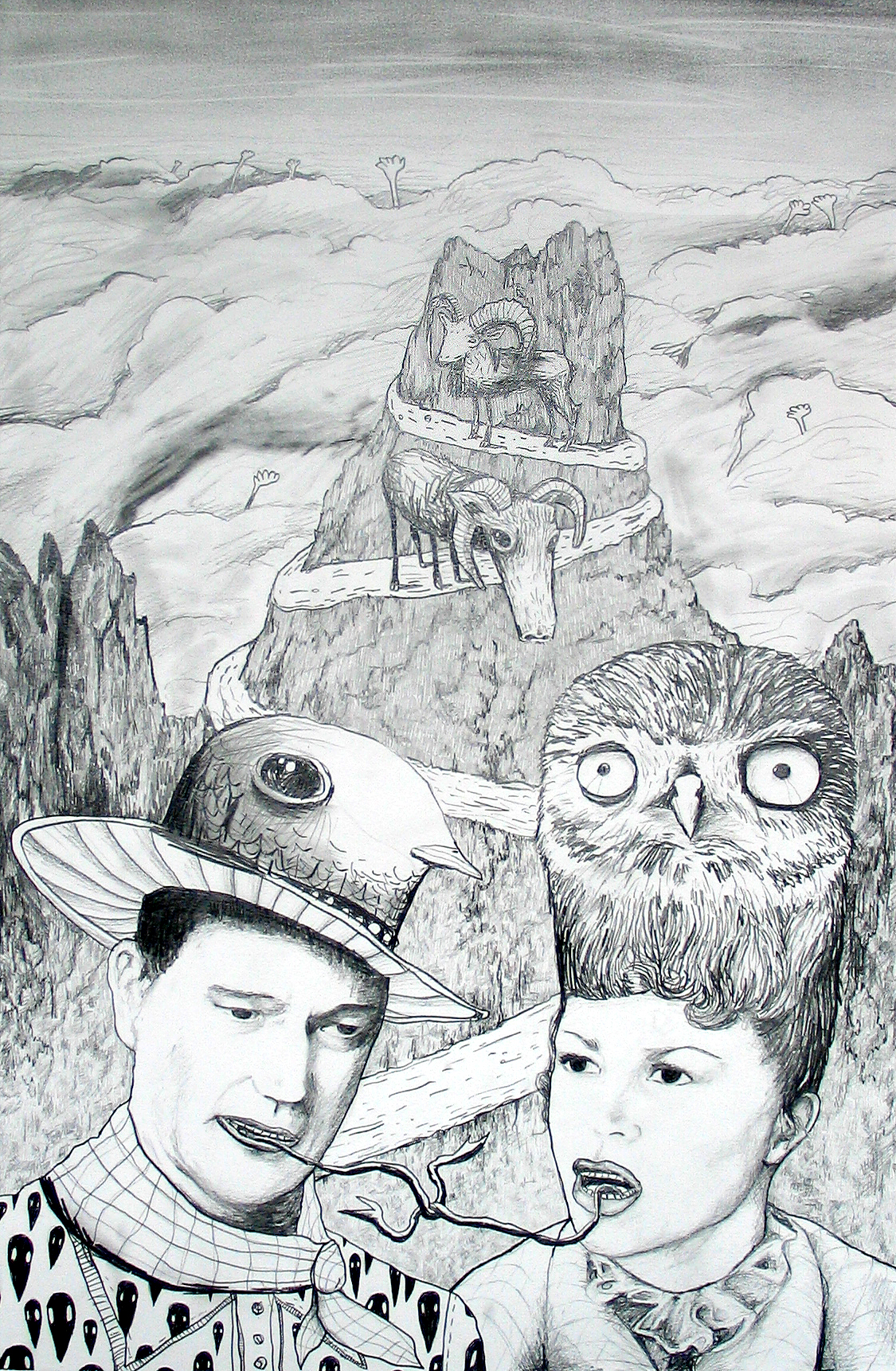 John Wayne and Claire 2007 Pencil on paper 50x70cm