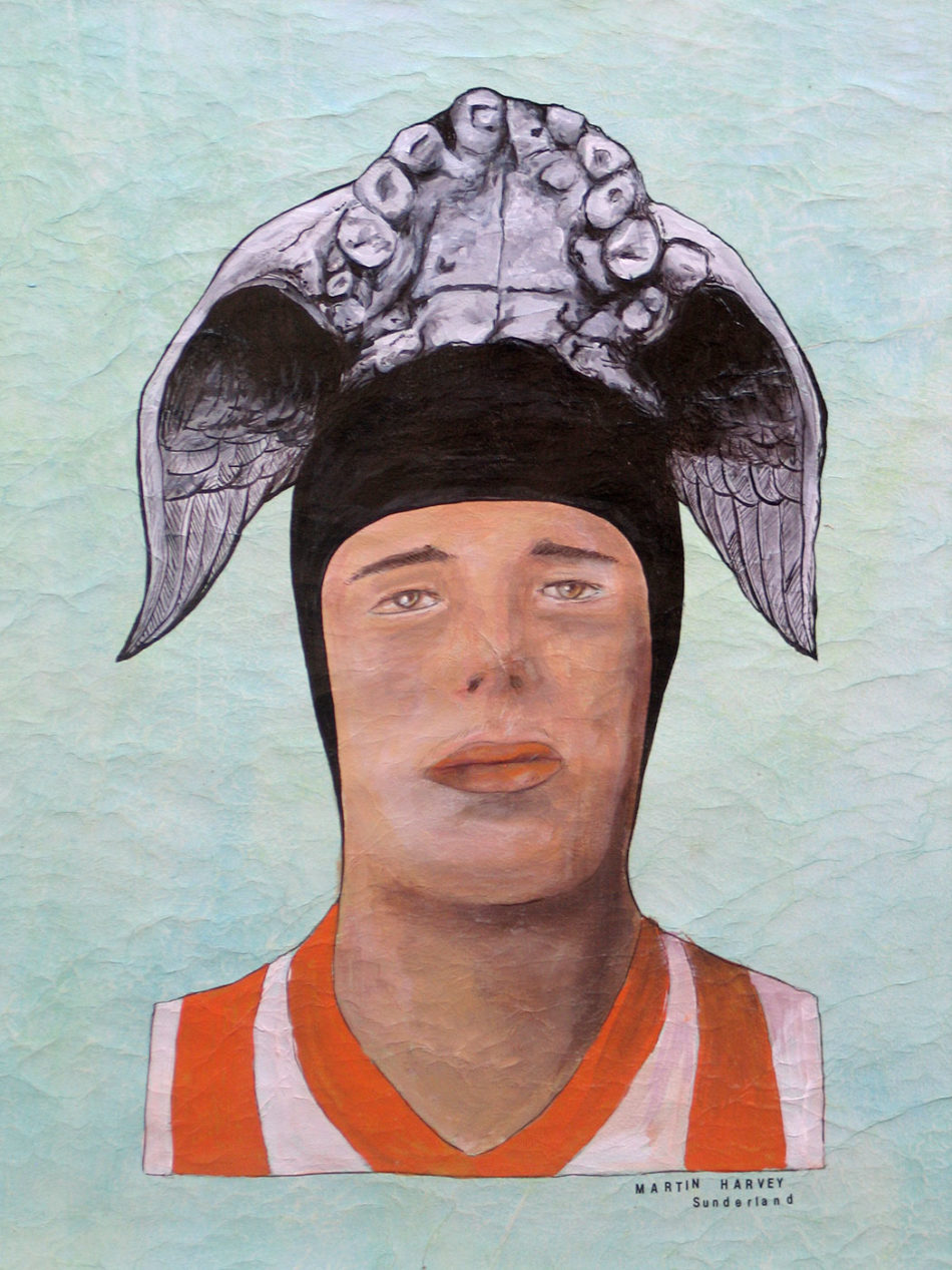 Martin Harvey -NEOLITHIC FOOTBALL HEROES Acrylic on tissue paper laid on unstretched canvas 2012 50x63cm KEELERTORNERO