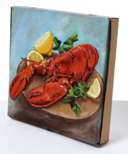 LOBSTER PIZZA BOX Oil on pizza box 2019 For a charity show at Atom Gallery KEELERTORNERO