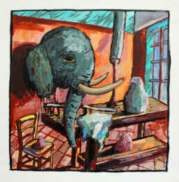 ELEPHANT IN THE ROOM 2020 Acrylic on paper 50x50cm CHIN KEELER
