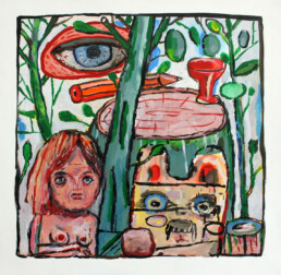 WOODLAND 2020 Acrylic on paper 50x50cm CHIN KEELER