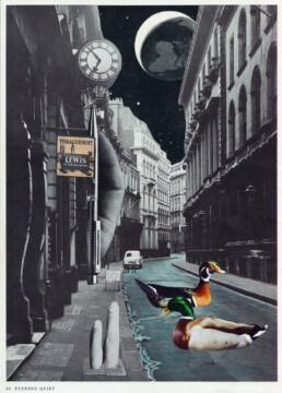 EVENING QUIET - Une Scène Idyllique 2021 Original Collage and Ink 21x29cm KEELERTORNERO