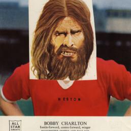 BOBBY CHARLTON HESTON 2012 Original Collage and letraset 24x18cm KEELERTORNERO
